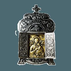 Διακοσμητικό επάργυρο, Παναγία του Πάθους, ανοιχτά φύλλα