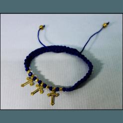 Βραχιολάκι με χάντρες χρυσαφί και επικρεμάμενα σταυρουδάκια