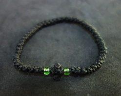 DSC02514 Κομποσκοινάκι κερωμένο, πράσινες χάντρες
